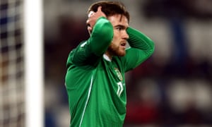 Republic of Ireland's Aaron Connolly reacts after missing a chance against Georgia.
