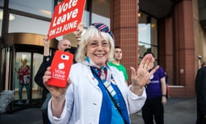 A Vote Leave supporter celebrates following the EU referendum result