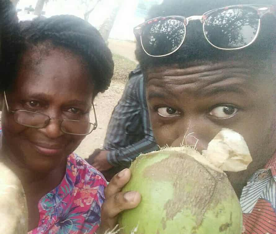 Novelist Michael Donkor with his mother in Ghana