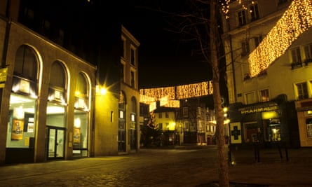 Christmas lights in Place Sainte Anne in Rennes