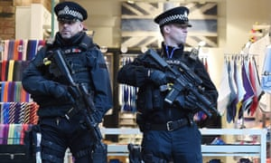 Armed police at St Pancras international railway station in London.