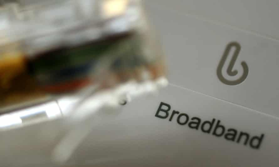 A broadband cable and router.