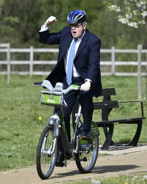 Stourbridge, UK. Boris Johnson rides a bike along the towpath of the Stourbridge canal in the West Midlands during a Conservative party local election campaign