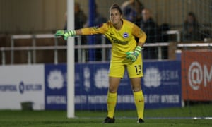 Lucy Gillett, pictured playing for her former club Brighton, alleges a group of men shouted at the referee to 'check the gender' of Palace players.