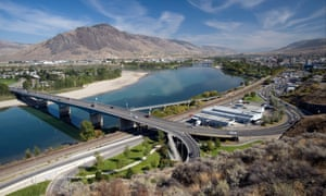 The city of Kamloops with Thompson river.