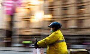 A food delivery rider in Melbourne's CBD