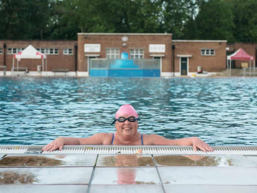 Cold-water swimmer Sally Goble at Parliament Hill lido in London