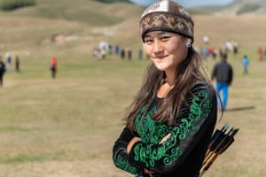 Ayana Rustam, 16, from Kyrgyzstan, the youngest female archer at the World Nomad Games