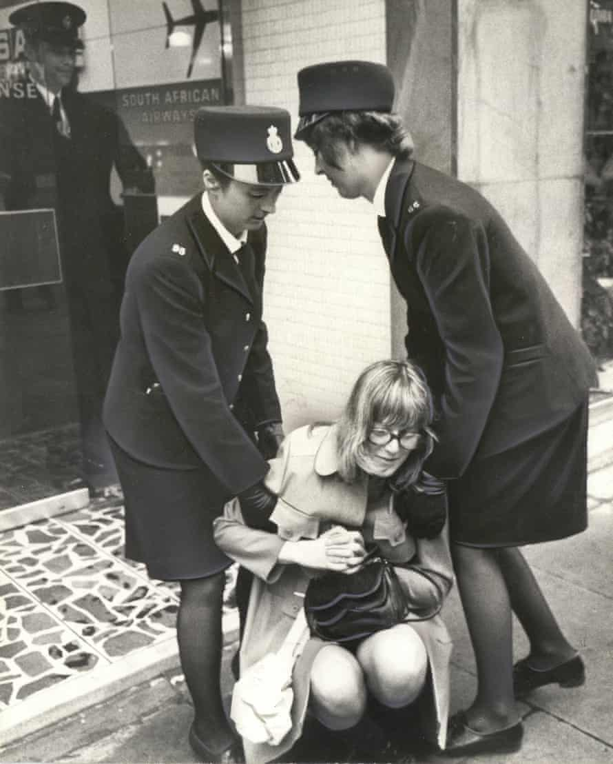 Anti-Apartheid demonstrator being removed from the South African Airways office, Peter Street, Manchester. 1972