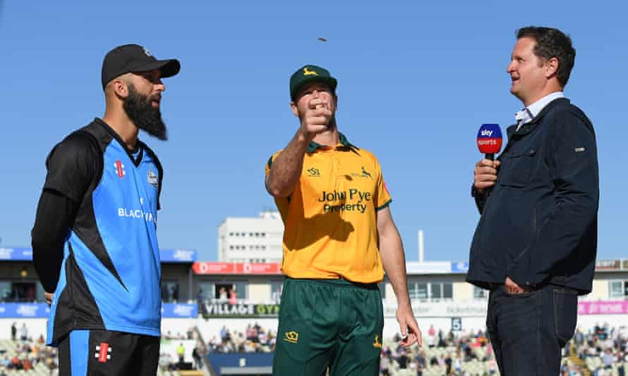 Rob Key (right) working for Sky Sports at the Vitality T20 Blast semi-final between Notts Outlaws and Worcestershire Rapids in September last year.