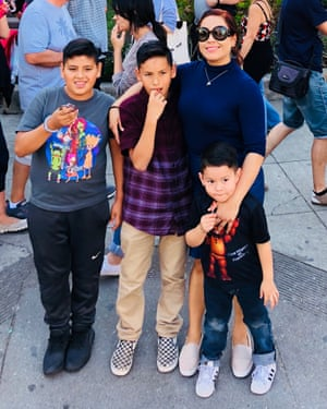 Veronica Chavez, a housekeeper at a Disneyland Resort hotel, and her three sons.