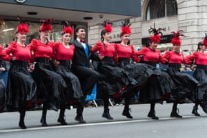 Team from London Borough of Harrow performs can can dance during London's New Year's Day Parade 2018
