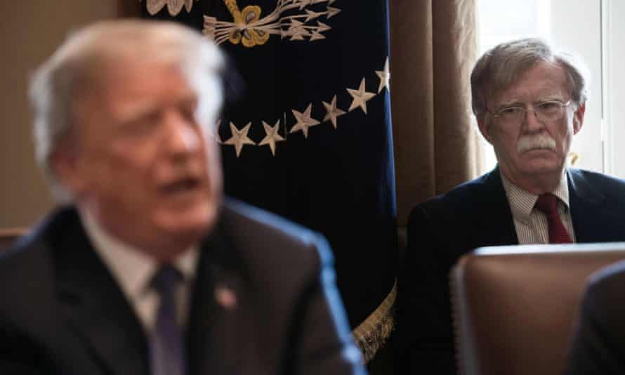 John Bolton and Donald Trump at the White House in Washington DC, on 9 April 2018.