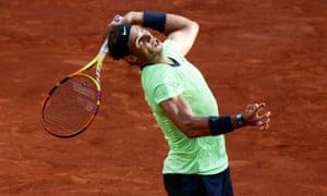 Rafael Nadal serves to Novak Djokovic.