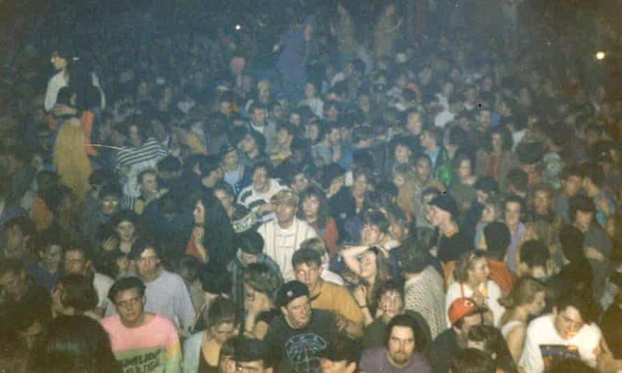 The crowd at one of Blackburn's acid house parties