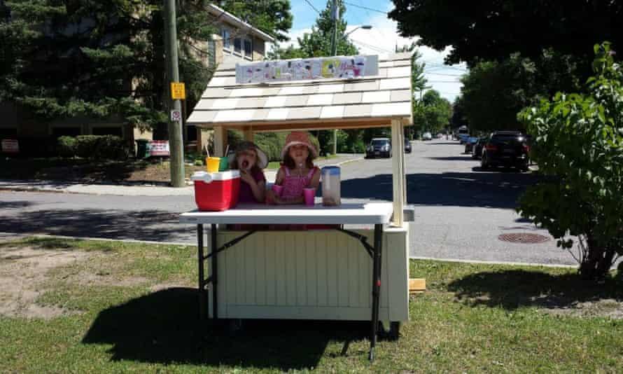 Eliza and Adela at their lemonade stand.