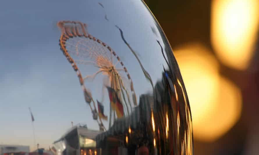 Ferris wheel reflected in mirror