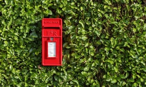 A bright red Royal Mail postbox surrounded by a hedge.