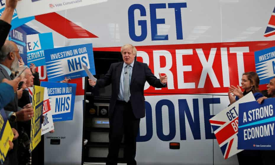 Boris Johnson speaks to supporters in Manchester