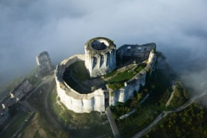 France, Eure, Les Andelys, Chateau Gaillard, 12th century fortress built by Richard the Lionheart (aerial view). The world is littered with castles, once majestic but now standing as ghostly reminders to the way we once lived. Château Gaillard was built on the banks of the Seine between 1196 and 1198 on the orders of Richard the Lionheart, (king of England and duke of Normandy). The stronghold – north-west of Paris – was as close as possible to the border between Richard's Normandy and the territories of the French king. It was supposed to be impregnable but fell to the French in 1204. The chateau is among 100 forts featured in Abandoned Castles by Kieron Connolly (Amber Books, £19.99).