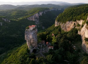 The Katskhi Pillar is home to an elderly Georgian monk who has lived there for the past 24 years to be 'closer to God'.
