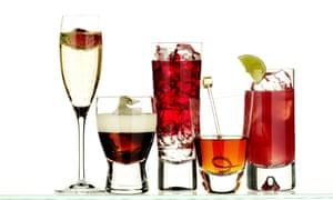 assorted cocktails.