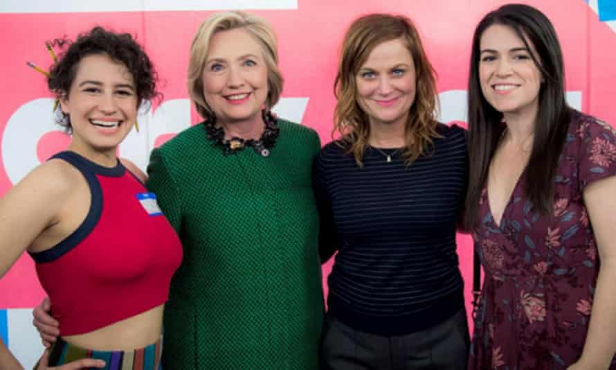 Girl power: (l-r) Ilana Glazer, Hillary Clinton, Amy Poehler and Abbi Jacobson on the set of Broad City Season 3.
