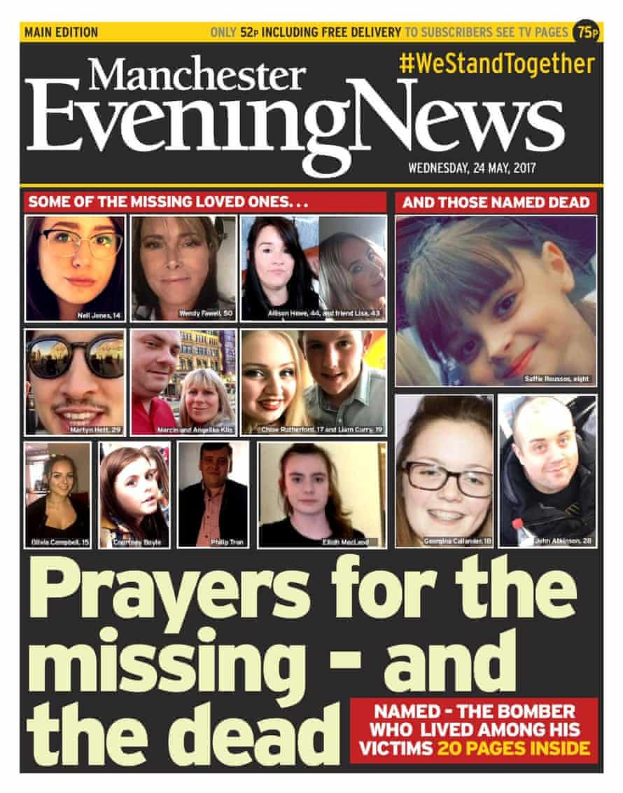 Manchester Evening News front page in the wake of the bombing.