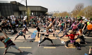 Yoga session on Waterloo Bridge