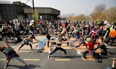 Yoga session on Waterloo Bridge