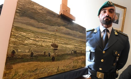 Van Gogh's View of the Sea at Scheveningen is presented at a press conference in Naples after it was recovered from a house near the Italian city.