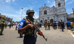 Security forces patrol the area around St Anthony's Shrine