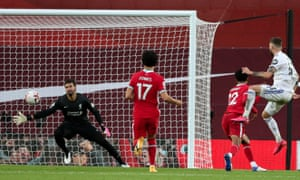Mateusz Klich scores his team's third goal for Liverpool in Leeds' opening game