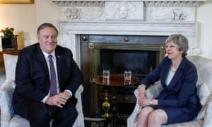 Mike Pompeo, the US secretary of state, meeting Theresa May in Downing Street earlier.