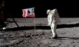 Buzz Aldrin poses for a photograph beside the deployed United States flag on the moon, 20 July 1969.