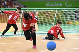 Akiko Adachi of Japan throws the ball in the women's goalball at the Future Arena