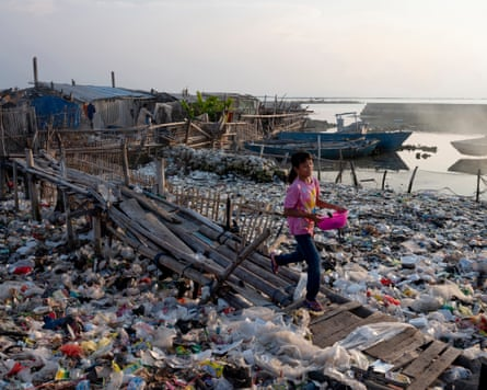 Sea of plastic waste, Panggang island, Indonesia