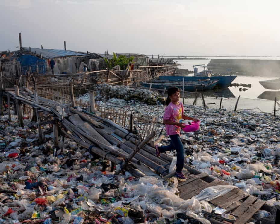 Sea of plastic waste, Panggang island, Indonesia