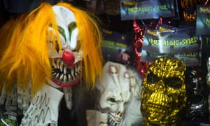 A clown mask at a shop in Easton, Maryland.