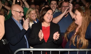 Mary Lou McDonald celebrating with Sinn Fein supporters at the RDS Count centre last night.