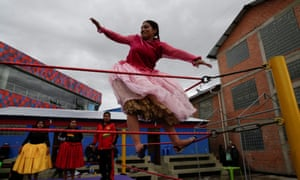 Gloria, a cholita wrestler, fights during their return to the ring.