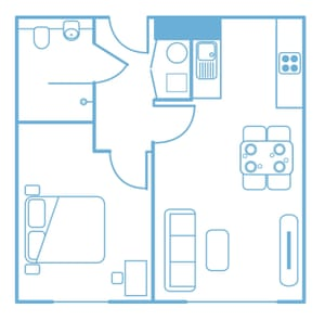 Floorplan of one of the one-bedroom flats.