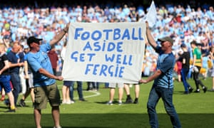 Manchester City fans wish Sir Alex Ferguson a speedy recovery during a match between Manchester City and Huddersfield Town