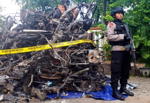 The aftermath of the church bombings in Surabaya.