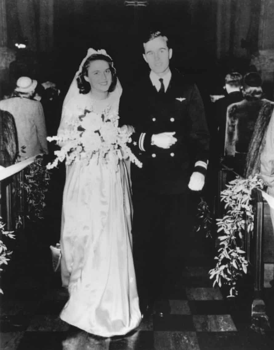 George and Barbara on their wedding day in Rye, New York, on 6 January 1945.