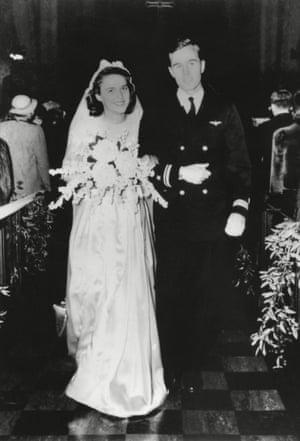 George HW Bush and Barbara Pierce on their wedding day in Rye, New York, in January 1945.