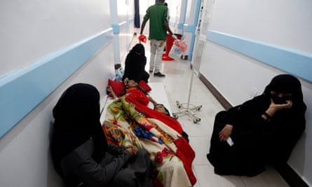 Yemenis, suspected of being infected with cholera, receiving treatment at a hospital in the capital Sana'a.