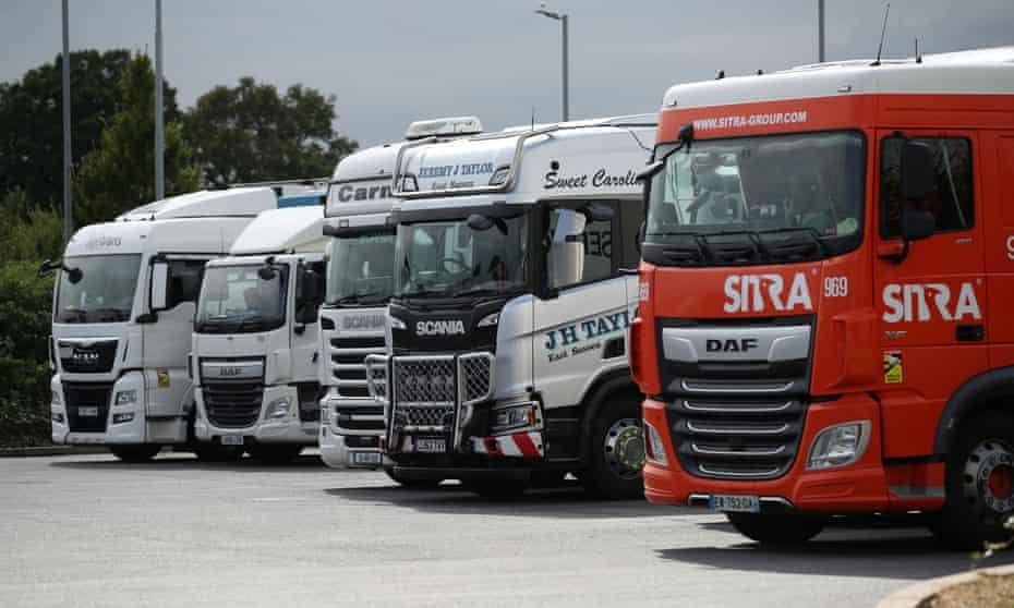 HGVs at a lorry park