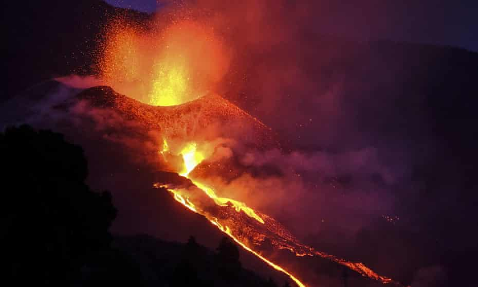 Lava flows from the Cumbre Vieja volcano on the Canary island of La Palma on 2 October after it blew two new fissures.