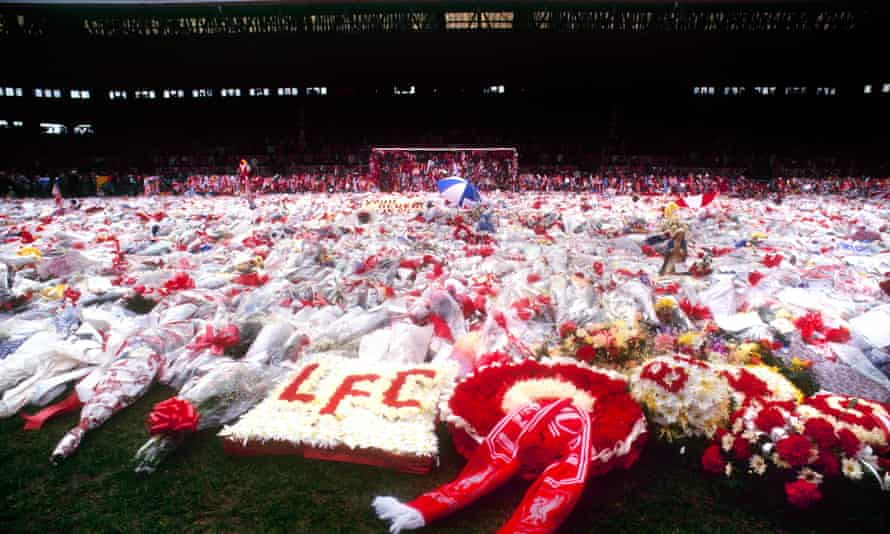 Tributes at Anfield in 1989.